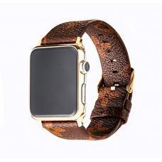 Кожаный ремешок LV leather Band 42мм 44мм для Apple Watch Коричневый