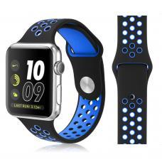 Силиконовый ремешок Nike 42мм 44мм для Apple Watch Синий с черным