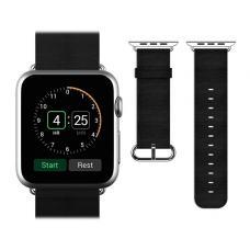 Кожаный ремень Premium 42мм 44мм для Apple Watch Черный