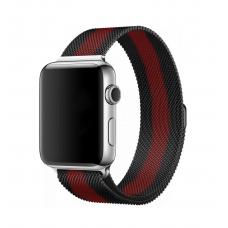 Металлический ремешок Milanese loop 38мм-40мм для Apple Watch Черный с красным