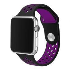 Силиконовый ремешок Nike 38мм- 40мм для Apple Watch Черный с фиолетовым