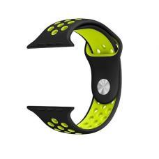 Силиконовый ремешок Nike 38мм- 40мм для Apple Watch Черный с желтым