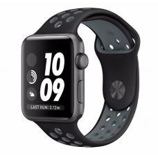 Силиконовый ремешок Nike 38мм- 40мм для Apple Watch Черный с серым