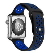 Силиконовый ремешок Nike 38мм- 40мм для Apple Watch Черный с синим
