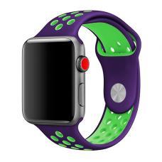 Силиконовый ремешок Nike 38мм- 40мм для Apple Watch Черный с зеленым