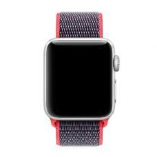 Нейлоновый ремешок Nylon loop 42мм 44мм для Apple Watch Черный с розовым