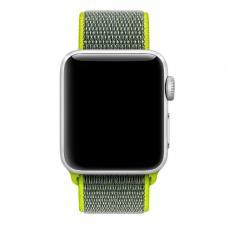 Нейлоновый ремешок Nylon loop 38мм-40мм для Apple Watch Черный с зеленым