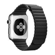 Кожаный ремешок PU Leather Band 42мм 44мм для Apple Watch Черный