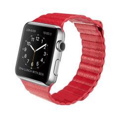 Кожаный ремешок PU Leather Band 42мм 44мм для Apple Watch Красный