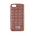 Чехол из эко-кожи под крокодила Puloka Polo для iPhone 5, 5s, SE Коричневого цвета