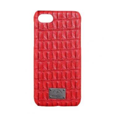 Чехол из эко-кожи под крокодила Puloka Polo для iPhone 5, 5s, SE Красного цвета