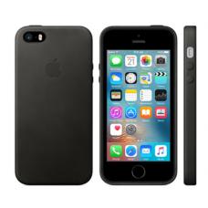 Чехол кожаный Leather Case для iPhone 5, 5s, SE Чёрный