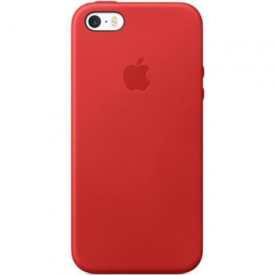Кожаный чехол Leather Case для iPhone 5, 5s, SE Красного цвета