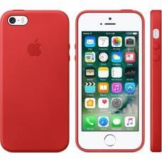Чехол кожаный Leather Case для iPhone 5, 5s, SE Красный