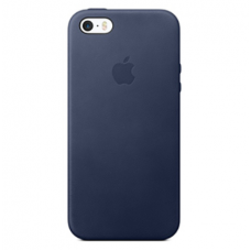 Чехол кожаный Leather Case для iPhone 5, 5s, SE Синий