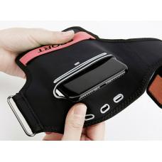 Универсальный спортивный чехол на запястье Baseus Flexible Wristband до 5,8 дюйма, Черный с красным