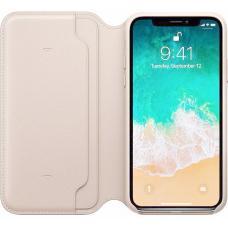 Кожаный чехол книжка Leather Folio для iPhone X Белый