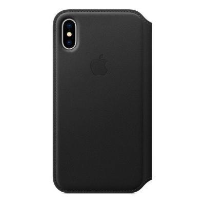 Кожаный чехол книжка Leather Folio для iPhone X / iPhone 10 Черный