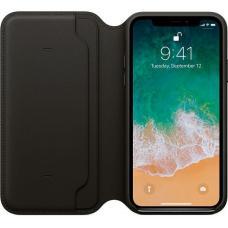 Кожаный чехол книжка Leather Folio для iPhone X Черный