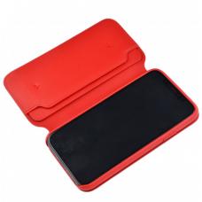 Кожаный чехол книжка Leather Folio для iPhone X Красный