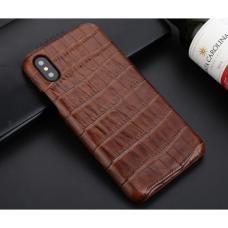Чехол из эко-кожи под крокодила Puloka Polo для iPhone XR Коричневый