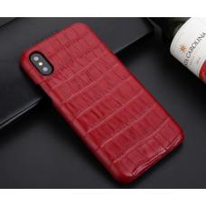 Чехол из эко-кожи под крокодила Puloka Polo для iPhone Xs Max Красный