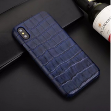 Чехол из эко-кожи под крокодила Puloka Polo для iPhone XR Синий