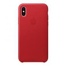 Чехол кожаный Leather Case для iPhone XR Красный