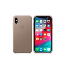 Чехол кожаный Leather Case для iPhone XR Серый