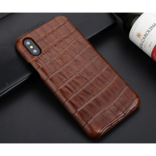 Чехол из эко-кожи под крокодила Puloka Polo для iPhone Xs Max Коричневый
