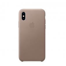 Чехол кожаный Leather Case для iPhone Xs Max Серый