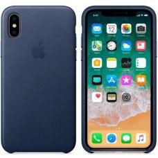 Чехол кожаный Leather Case для iPhone Xs Max Темно-синий