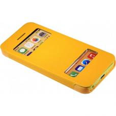 Чехол книжка для iPhone 5/5с/5s flip cover желтый