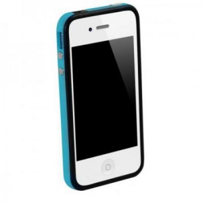 Бампер для iPhone 4/4S SGP Neo Hybrid EX Черный/Голубой
