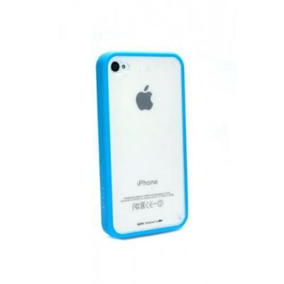 Бампер для iPhone 4/4S с прозрачной задней панелью Голубой