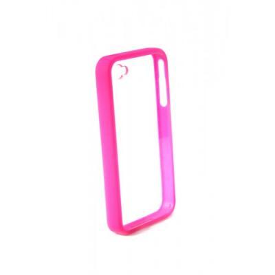Бампер для iPhone 4/4S с прозрачной задней панелью Розовый