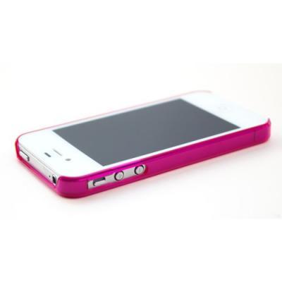Ультра тонкий бампер для iPhone 4/4S Малиновый Прозрачный