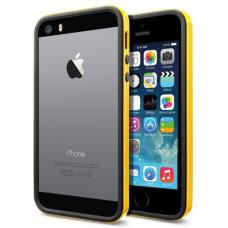 Бампер для iPhone 5/5S SGP Linear Crystal Neo Hybrid EX Slim Vivid Черный/Желтый
