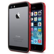 Бампер для iPhone 5/5S SGP Linear Crystal Neo Hybrid EX Slim Vivid Черный/Красный