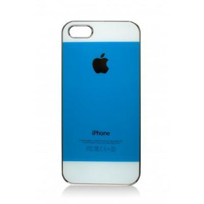 Чехол-накладка для iPhone 5/5S имитация задней крышки, Глянцевый Голубой с белым