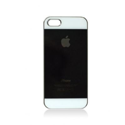Чехол-накладка для iPhone 5/5S имитация задней крышки, Глянцевый Черный с белым