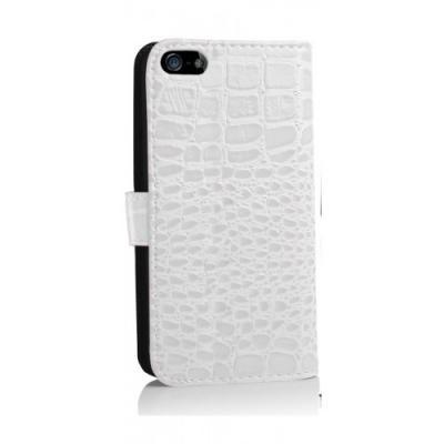 Чехол-книжка для iPhone 5/5S Крокодил Белый
