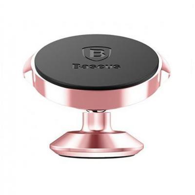 Автомобильный магнитный держатель на приборную панель или лобовое стекло Baseus SUER-B0R Small Ears Series Розовый
