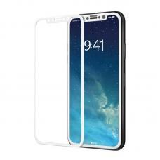 Защитное 9D стекло Anti Blue Ray на iPhone X Белая рамка