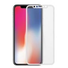 Защитное бронь стекло 5D на iPhone X с Белой рамкой