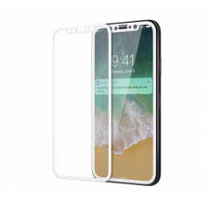 Защитное бронь стекло 3D на весь экран для iPhone X / iPhone 10 Белая рамка