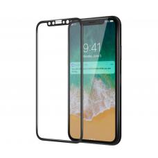 Защитное бронь стекло 3D на весь экран для iPhone X / iPhone 10 Черная рамка