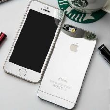 Защитное двухстороннее стекло Premium 2в1 для дисплея и корпуса iPhone 4, 4s Серебристое
