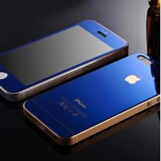 Защитное двухстороннее стекло Premium 2в1 для дисплея и корпуса iPhone 5, 5s Синее