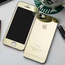 Защитное двухстороннее стекло Premium 2в1 для дисплея и корпуса iPhone 5, 5s Золотое